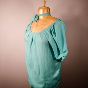 Cynthia Rowley Teal Tie Front Mutton Sleeve Blouse